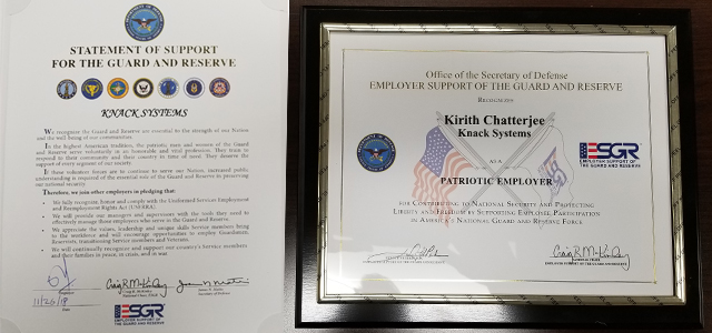 The 2018 Office of the Secretary of Defense – Employer Support of the Guard and Reserve Patriot Award and letter